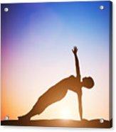 Woman In Side Balance Yoga Meditating At Sunset Acrylic Print