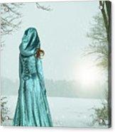 Woman In Snowy Landscape Acrylic Print