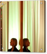 Woman In Soft Light Reflected Acrylic Print