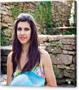 Woman In Spring Garden Acrylic Print