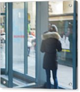 Woman In Storefront Acrylic Print