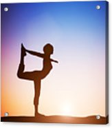 Woman In The Dancer Yoga Pose Meditating At Sunset Acrylic Print
