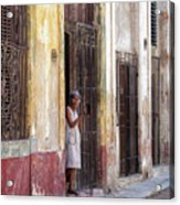 Woman In The Door Acrylic Print