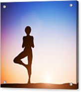 Woman In Tree Yoga Pose Meditating At Sunset Acrylic Print