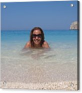 Woman In Water Enjoying Navagio Beach On The Island Of Zakinthos Acrylic Print