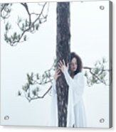 Woman In White Dress Hugging A Tree Acrylic Print