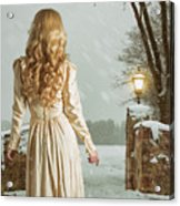 Woman In Winter Scene Acrylic Print