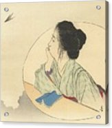 Woman Looking At A Bird Acrylic Print
