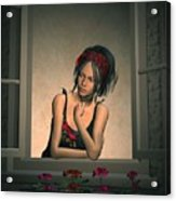 Woman Looking Out Of A Window Acrylic Print