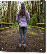 Woman On An Old Moss Covered Bridge In Olympic National Park Acrylic Print