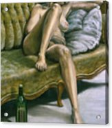 Woman On Green Sofa Acrylic Print