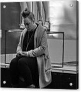 Woman Phone Night Acrylic Print