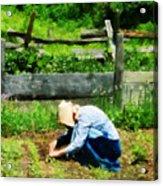 Woman Planting Garden Acrylic Print