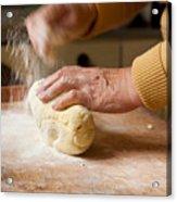 Woman Preparing Dough For Kopytka Acrylic Print