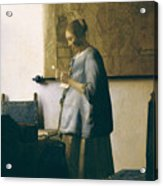 Woman Reading A Letter Acrylic Print by Jan Vermeer