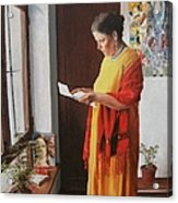 Woman Reading A Letter Acrylic Print by Kevin Hopkins