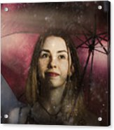 Woman Resilient In Storm Through Positive Thinking Acrylic Print
