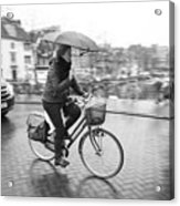 Woman Riding In The Raing Acrylic Print