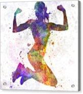 Woman Runner Jogger Jumping Powerful Acrylic Print