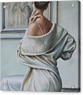 Woman Sat In A Gallery Acrylic Print