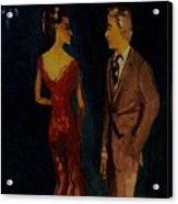 Woman See Thru Red Dress And Man  Acrylic Print