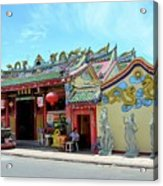 Woman Sits Outside Chinese Temple With Urn And Deity Statues Pattani Thailand Acrylic Print