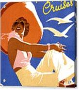 Woman Sitting On A Cruising Ship Acrylic Print