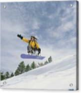 Woman Snowboarding On The Cinder Cone Acrylic Print by Kate Thompson