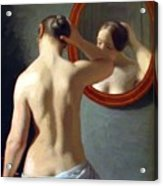 Woman Standing In Front Of A Mirror 1841 Acrylic Print