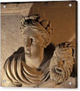 Woman Statue Holds A Mask Of Pan Acrylic Print