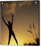 Woman Stretching On A Mountain Acrylic Print