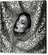 Woman Surrounded By Cloth Of Paisley Prints Acrylic Print