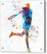 Woman Tennis Player 03 In Watercolor Acrylic Print