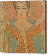 Woman under the bamboo umbrella Acrylic Print