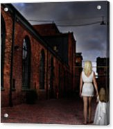 Woman Walking Away With A Child Acrylic Print