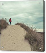 Woman Walking In The Dunes Of Cape Cod Acrylic Print
