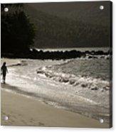 Woman Walking On A Deserted Beach Acrylic Print
