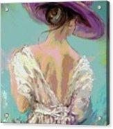 Woman Wearing A Purple Hat Acrylic Print
