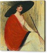 Woman Wearing Hat Acrylic Print