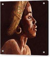 Woman Wearing Scarf Acrylic Print by Dorothy Riley