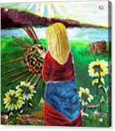 Woman Weaves A Basket By The Lake At Sunset Acrylic Print