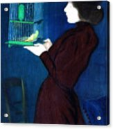 Woman With A Bird Cage  Detail Acrylic Print