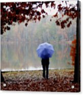 Woman With A Blue Umbrella Acrylic Print