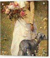 Woman With A Dog Acrylic Print