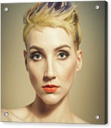 Woman With A Funky Hairstyle Acrylic Print