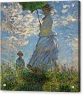 Woman With A Parasol, Madame Monet And Her Son, Claude Monet Digitally Enhanced Acrylic Print