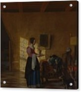 Woman With A Water Pitcher And A Man By A Bed The Maidservant Acrylic Print