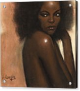 Woman With Afro Acrylic Print by L Cooper