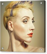 Woman With An Edgy Hairstyle Acrylic Print