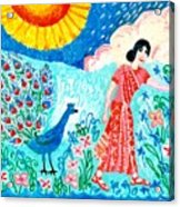 Woman With Apple And Peacock Acrylic Print by Sushila Burgess